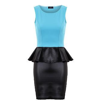 Damer ærmeløs kontrast Wetlook Peplum blyant nederdel kvinders kjole