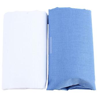 David Van Hagen Classic Plain Handkerchief Set - White/Blue