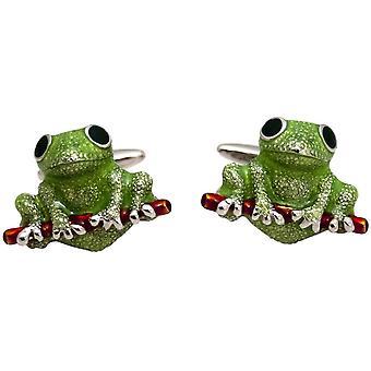 Zennor Frog Cufflinks - Green/Red