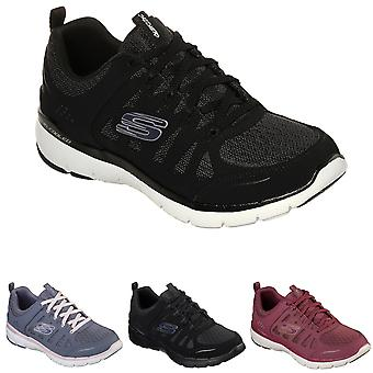 Womens Skechers Flex Appeal 3.0 Billow Lightweight Cushioned Trainers - Black/White - 3