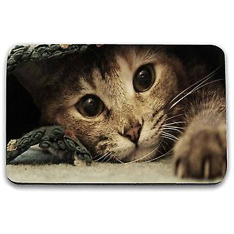 i-Tronixs - Cat Printed Design Non-Slip Rectangular Mouse Mat for Office / Home / Gaming - 17