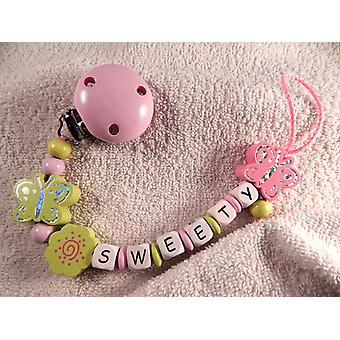 Pacifier holder in wood Design No 20 with text