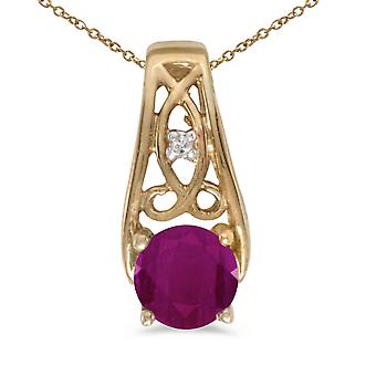 10k Yellow Gold Round Ruby And Diamond Pendant with 16