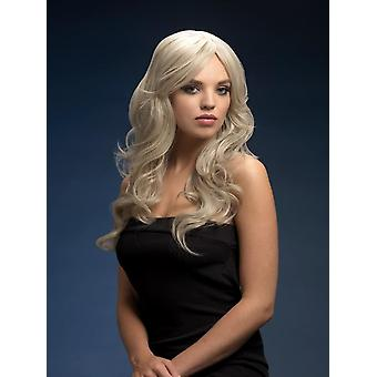 Fever Nicole Wig, Silver Blonde, Soft Wave with Side Parting, 26inch/66cm