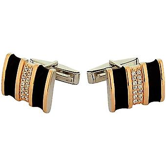 Jakob Strauss Gents Sterling Zilver zwart & Rose-goldtone CZ Set Manchetknopen