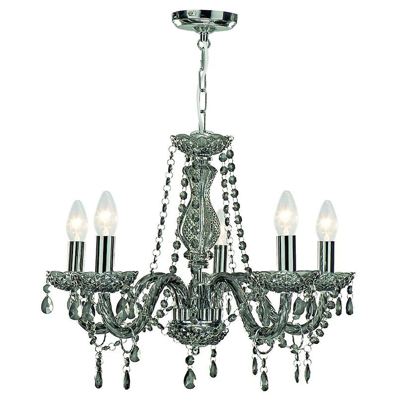 5 Light Crystal Chandelier Smoked gris Glass Finish
