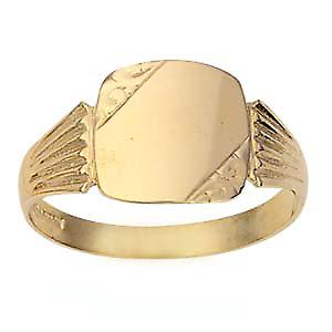 9ct Gold 12x12mm gents engraved TV shaped Signet Ring Size R