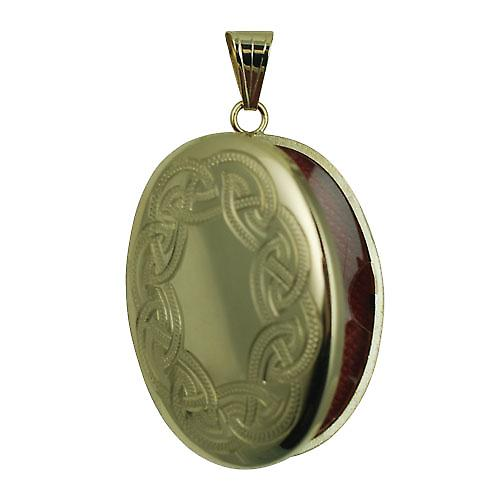 9ct Gold 35x26mm Celtic hand engraved oval Locket