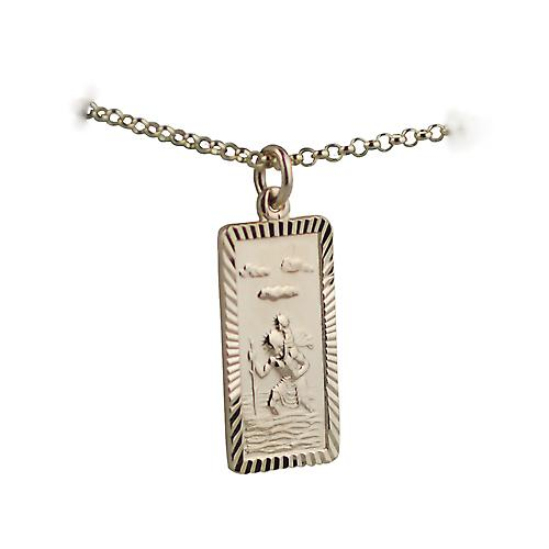 9ct Gold 26x13mm rectangular diamond cut edge St Christopher Pendant with belcher Chain 16 inches Only Suitable for Children