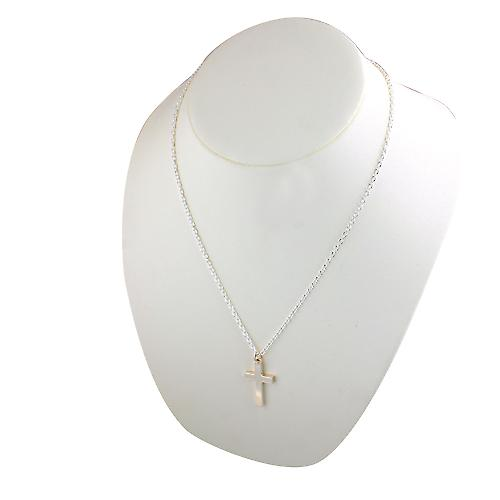 Silver 30x20mm plain solid block Cross with a cable Chain 22 inches