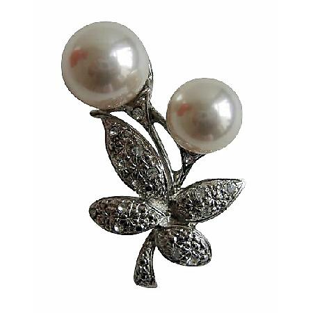 White Pearls Fashion Pin with Cubic Zircon Bud Decorated Brooch