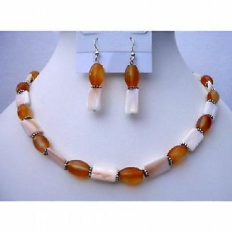 Mother Pearl Shell Jewelry w/ Carnelian Beads Daisy Spacing Necklace & Sterling Silver Earrings
