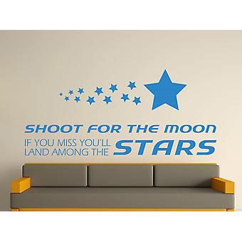 Shoot For The Moon Wall Art Sticker - Olympic Blue
