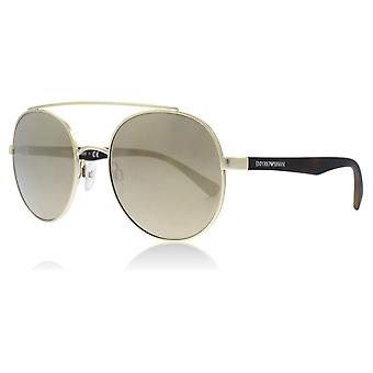 Emporio Armani EA2051 30135A Matte Pale Gold EA2051 Round Sunglasses Lens Category 3 Lens Mirrored Size 53mm
