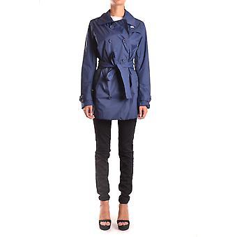 K-way Blue Nylon Trench Coat