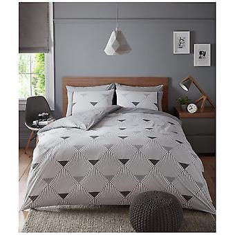 Metro Geometric Triangles Printed Duvet Quilt Cover Modern Bedding Set