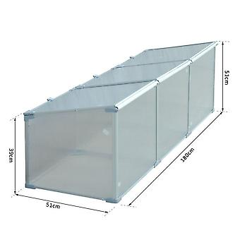 """Outsunny 71"""" Aluminum Greenhouse Plants Raised Bed Vented Cold Frame Outdoor Allotment Protector Garden Silver Transparent"""