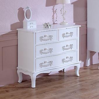 Antique White 4 Drawer Chest of Drawers - Pays Blanc Range
