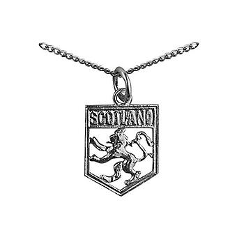 Silver 17x14mm Scotland Badge with Rampant Lion Pendant with a curb Chain 24 inches