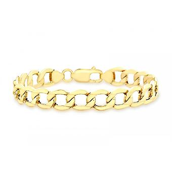 Eternity 9ct Gold Ladies 7 1/2'' Open Diamond Cut Curb Bracelet