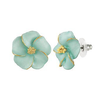 Eternal Collection Pansy Aqua Enamel Gold Tone Pierced Earrings