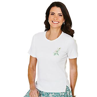 Ladies Womens Crew Neck T Shirt With Embroidery