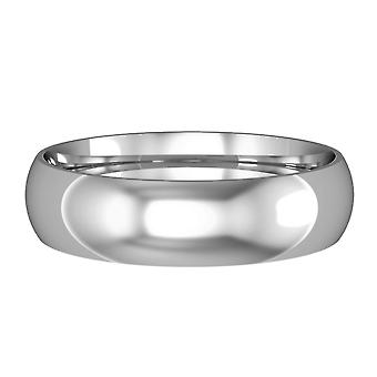 Jewelco London 9ct White Gold - 5mm Essential Court-Shaped Band Commitment / Wedding Commitment Ring