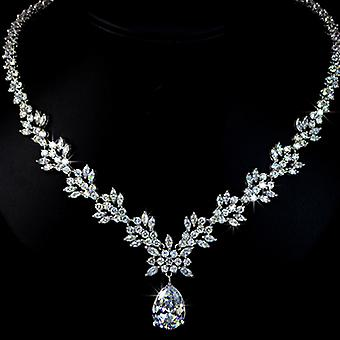 Bridal Collection - 18K White Gold Plated Pear Shaped Swiss Cubic Zirconia Necklace