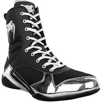 Venum Elite Professional Boxing Shoes - Black/Silver