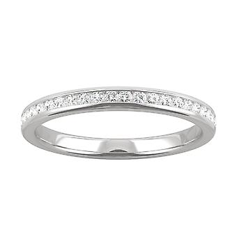 14K White Gold Moissanite by Charles & Colvard 1.3mm Round Wedding Band, 0.24cttw DEW