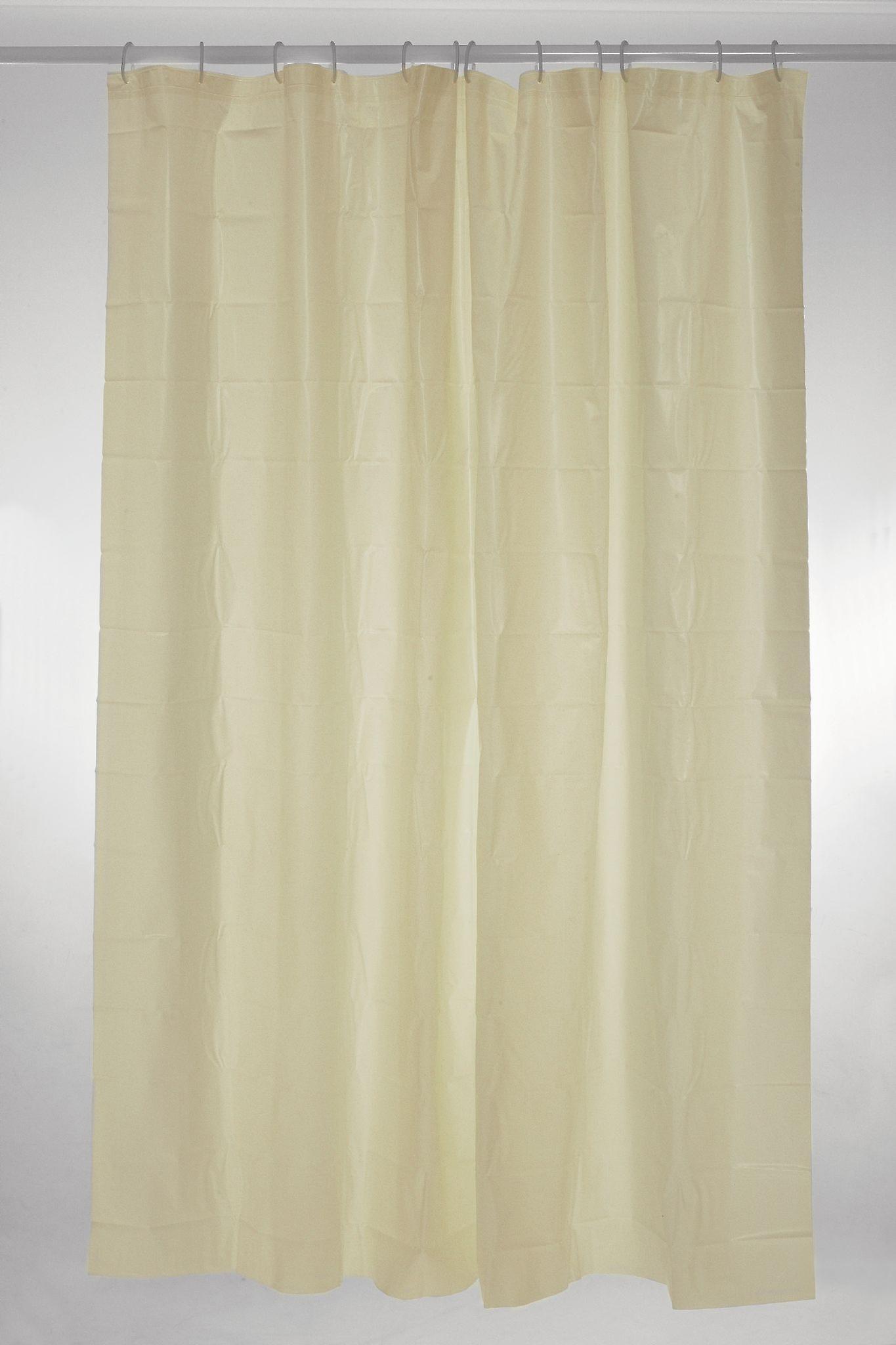 Cream Plain Polyester Shower Curtain 180 x 180cm