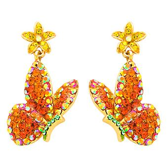 Butler and Wilson Orange Butterfly and Flower Drop Earrings