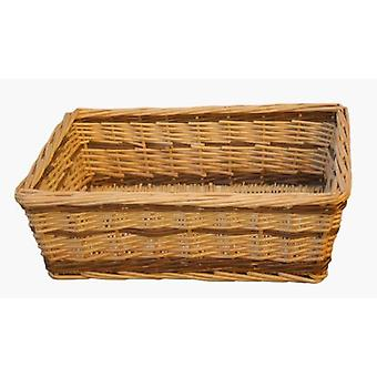 Medium Two Tone Rectangular Wicker Tray