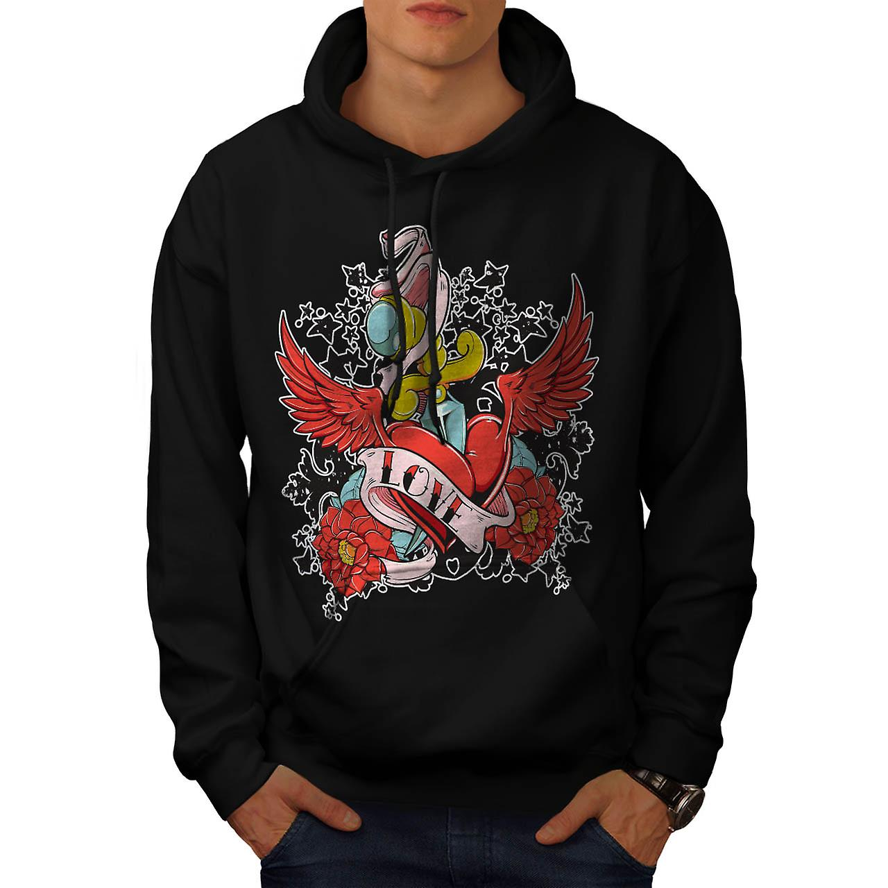 Love Heart Hurts Life Rose Wing Men Black Hoodie | Wellcoda