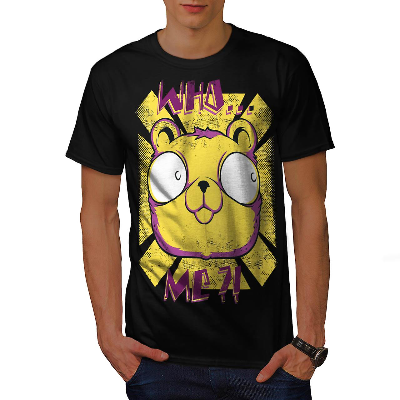 Who Me? Cute Bear Fashion Men Black T-shirt | Wellcoda