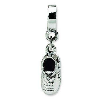 Sterling Silver Polished Antique finish Reflections Baby Shoe Dangle Bead Charm