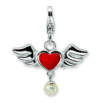 Sterling Silver 3-D Winged Red Heart Freshwater Cultured Pearl With Lobster Charm - Measures 25x21mm
