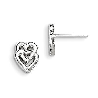 Sterling sølv Solid polert innlegg øredobber hjertet Mini barn øredobber - 1.2 gram