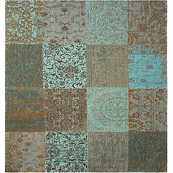 Vintage Sea Blue Square Patchwork Rug - Louis De Poortere