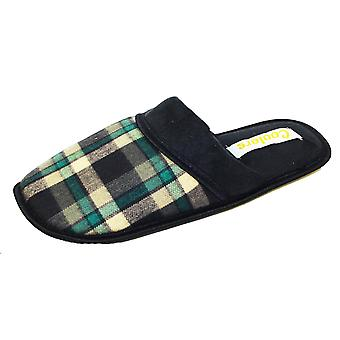 Mens Coolers Quality Plaid Check Mule Slipper Warm Textile Lining A07