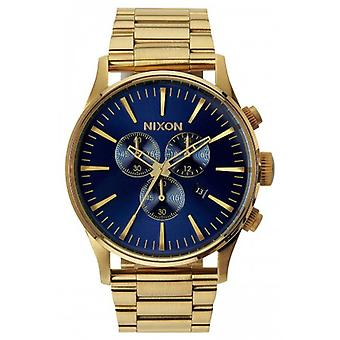 Nixon The Sentry Chrono Watch - Gold/Blue Sunray