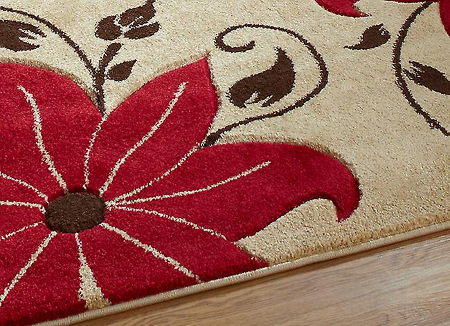 Verona OC15 Beige - Red Beige and red Rectangle Rugs Modern Rugs