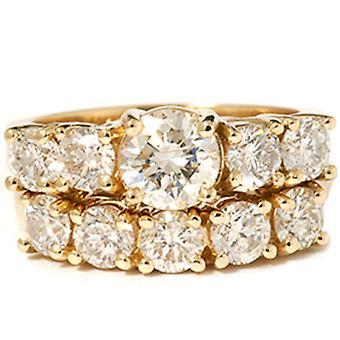 2 1/2 ct ラウンド ダイヤモンド結婚式に一致する設定 14 K ゴールド