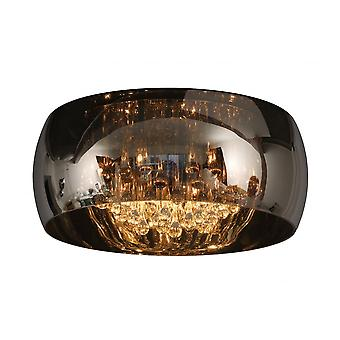Lucide Modern Smoked Glass Circular Flush Ceiling Light With Crystals