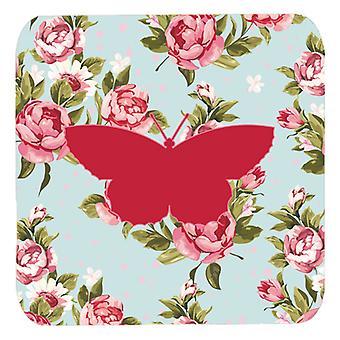 Carolines schatten BB1041-RS-BU-FC Set van 4 Butterfly Shabby chique blauwe rozen F