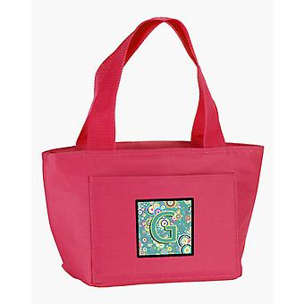 Letter G Circle Circle Teal Initial Alphabet Lunch Bag