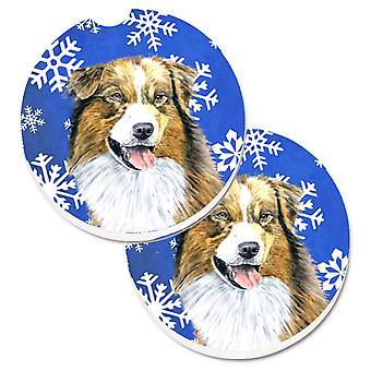 Australian Shepherd Winter Snowflakes Holiday Set of 2 Cup Holder Car Coasters