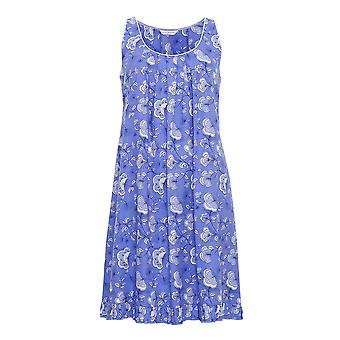 Cyberjammies 3212 Women's Vienna Blue Floral Cotton and Modal Night Gown Loungewear Nightdress