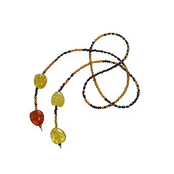 Gemshine - ladies - necklace - gold plated Garnet - amber - - faceted yellow - orange - 120 cm - Red-