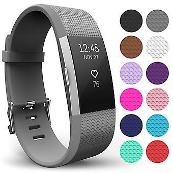 Yousave Fitbit carga 2 correa simple (pequeño) - gris